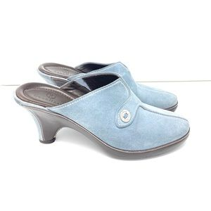 COLE HAAN Devon Heels Blue Suede Leather Clogs 8B